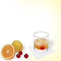 Amaretto Sour in a tumbler glass.